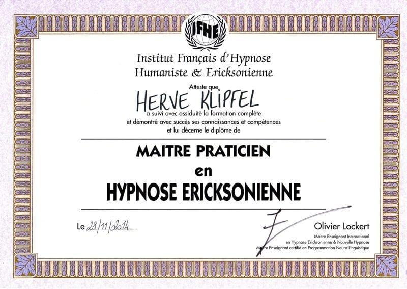 Diplome-Maitre-Praticien-HypnoseEricksonienne-Herve-Klipfel